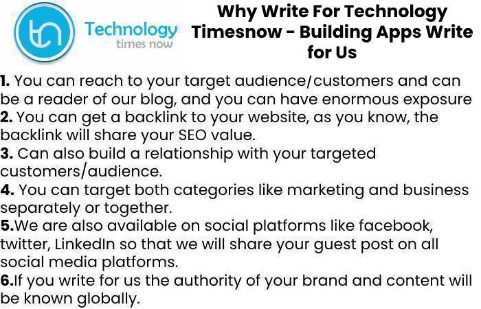 Why Write For Technology Timesnow - Building Apps Write for Us